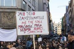 PRAG, TSCHECHISCHE REPUBLIK - 15. MAI 2017: Demonstration auf Quadrat Prags Wenceslas gegen die gegenwärtige Regierung und das Ba Stockfotografie