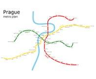 Prag-U-Bahnplan Stockbilder