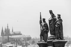 Prag während des Winters Stockbild