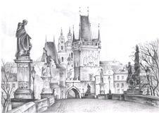 Praga abbellisce la matita assorbita Viste di Praga fotografia stock