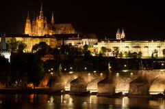 Praga alla notte Fotografia Stock Libera da Diritti