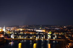 Praga alla notte Fotografie Stock Libere da Diritti