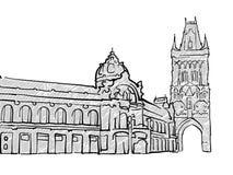 Praga, bosquejo famoso del viaje de la República Checa stock de ilustración