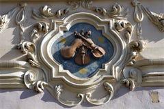 Praga - casa di baroque del modulo del particolare immagini stock libere da diritti