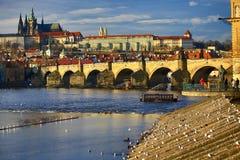 Praga Castel con la st Vitus Cathedral, Moldau, Lesser Town, Praga, repubblica Ceca Fotografia Stock Libera da Diritti