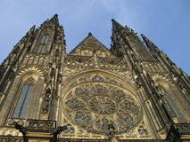 Praga church. Ancien big costel in Praga Stock Photo