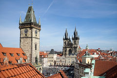 PRAGA, czech REPUBLIC/EUROPE - WRZESIEŃ 24: Stary urząd miasta Holowniczy Zdjęcia Stock