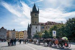 PRAGA, czech REPUBLIC/EUROPE - WRZESIEŃ 24: Konie i carria Zdjęcie Royalty Free