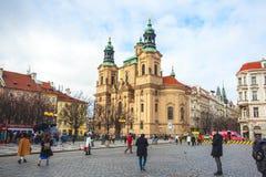 25 01 2018 Praga, czech Respublic - kościół St Nicholas w O Zdjęcia Stock