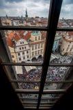 Praga de la torre de reloj Imagen de archivo libre de regalías