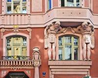 Praga, detalles arquitectónicos del art déco Imágenes de archivo libres de regalías