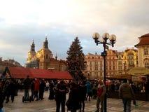 Praga durante la Navidad Imagenes de archivo