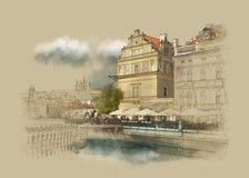 Praga, el museo en el centro de ciudad, gráficos del vintage en el papel viejo, bosquejo de la acuarela Imagen de archivo libre de regalías