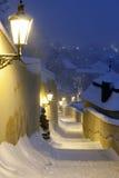 Praga en invierno Fotos de archivo libres de regalías
