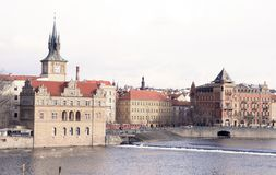 Praga. Fiume di Vltava Immagine Stock