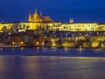 Praga illuminata Fotografia Stock Libera da Diritti