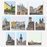 praga Karlovy varia munich Grupo de convites artísticos criativos e de empacotamento collectible do chocolate Imagem de Stock Royalty Free