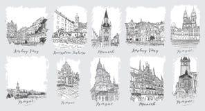 praga Karlovy varia munich Insieme degli inviti artistici creativi e di imballaggio raccoglibile del cioccolato Fotografia Stock