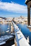 Praga kasztel i Charles most, Praga, Czeski republi (UNESCO) Obrazy Royalty Free