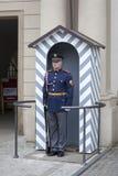 Praga kasztelu strażnik w zima mundurze Zdjęcie Royalty Free