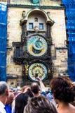 Praga kuranty Średniowieczny zegarowy wierza Zdjęcia Stock
