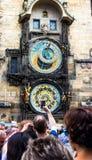 Praga kuranty Średniowieczny zegarowy wierza Obraz Stock