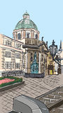 Praga, la repubblica Ceca, inchiostro disegnato a mano e acquerello dipinto d'imitazione Fotografia Stock
