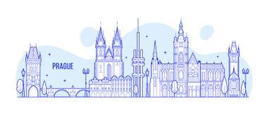 Praga linii horyzontu republika czech miasta budynku wektor Fotografia Stock