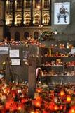 Praga, luzes da vela para Vaclav Havel Imagem de Stock