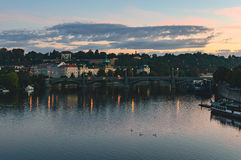 Praga - mattina alla Moldava Immagine Stock