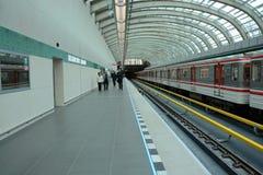 Praga, metropolitana A, fermata dell'ospedale di Motol, fotografia stock libera da diritti