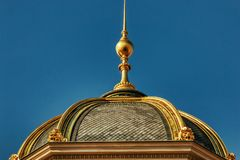Praga muzeum narodowego szczegółów złoty cupole obraz royalty free