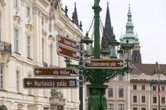 Praga nelle direzioni fotografia stock libera da diritti