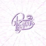 Praga nowożytna ręka pisać szczotkarskim literowaniu, odizolowywającym na białym tle Atrament kaligrafia Kapitał republika czech Obrazy Royalty Free