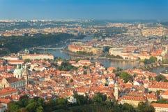 Praga, panorama della città dalla torre dell'allerta di Petrin Fotografia Stock
