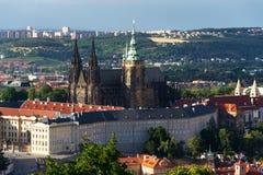 Praga panorama z St Vitus Praga i katedry kasztelem Obrazy Stock
