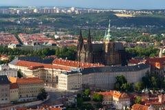 Praga panorama z St Vitus Praga i katedry kasztelem Obraz Stock