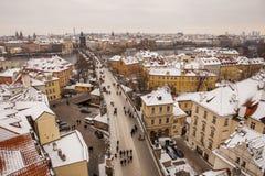 Praga przy zima czasem Zdjęcia Royalty Free