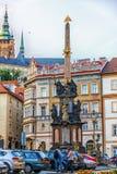 Praga, República Checa - 18 de agosto de 2018: Columna del Trin santo fotos de archivo