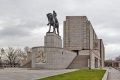 PRAGA, REPÚBLICA CHECA - 21 DE DICIEMBRE DE 2015: Foto de la estatua ecuestre de Jan Zizka en la colina de Vitkov Fotos de archivo