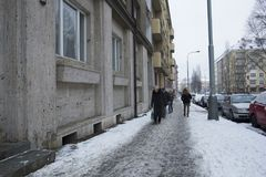 Praga, República Checa - 10 de enero de 2017 día usual en la ciudad Imagen de archivo