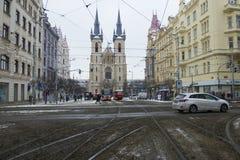 Praga, República Checa - 10 de enero de 2017 día usual en la ciudad Fotografía de archivo