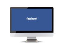 PRAGA, REPÚBLICA CHECA - 16 de febrero de 2015: Facebook es un servicio social en línea del establecimiento de una red fundado en ilustración del vector