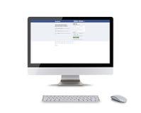 PRAGA, REPÚBLICA CHECA - 16 de fevereiro de 2015: Facebook é um serviço social em linha dos trabalhos em rede fundado em fevereir Imagem de Stock