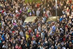 PRAGA, REPÚBLICA CHECA - 15 DE MAIO DE 2017: Demonstração no quadrado de Praga Wenceslas contra o governo e o Babis atuais Fotos de Stock Royalty Free
