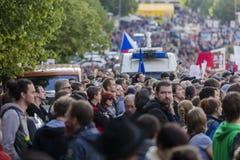PRAGA, REPÚBLICA CHECA - 15 DE MAYO DE 2017: Demostración en el cuadrado de Praga Wenceslao contra el gobierno y el Babis actuale Fotos de archivo