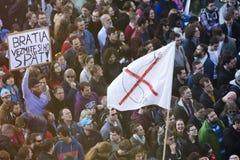 PRAGA, REPÚBLICA CHECA - 15 DE MAYO DE 2017: Demostración en el cuadrado de Praga Wenceslao contra el gobierno y el Babis actuale Imagen de archivo