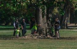Praga, República Checa - 10 de setembro de 2019: crianças que abraçam uma árvore sob a supervisão dos pais fotos de stock royalty free