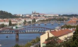 PRAGA, REPÚBLICA CHECA 5 DE SETEMBRO DE 2015: Foto da vista de Praga da plataforma de observação Visegrad Imagem de Stock Royalty Free