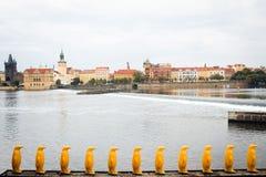 Praga, República Checa - figuras de pingüinos amarillos en el terraplén del río de Moldava que pasa por alto la ciudad vieja imagen de archivo